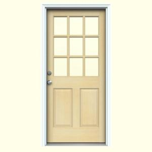 JELD-WEN 9 Lite Unfinished Hemlock Entry Door with Primed White AuraLast Jamb and Brickmold
