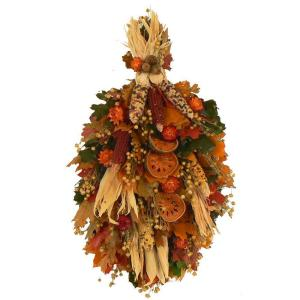 The Christmas Tree Company Golden Autumn 19 in. Dried Floral Wall Charm Swag-Sold Out For the Season-DISCONTINUED