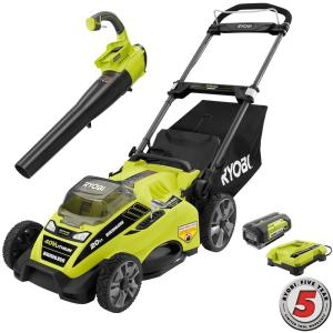 Ryobi 20 inch 40-Volt Lithium-Ion Cordless Lawn Mower with Jet Fan Blower Combo...