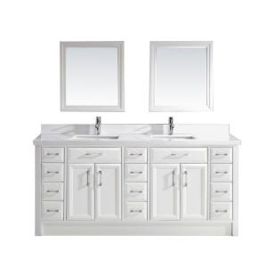 Studio Bathe Calais 75 inch W x 22 inch D Vanity in White with Solid Surface... by Studio Bathe