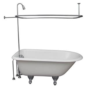 Barclay Products 4.5 ft. Cast Iron Ball and Claw Feet Roll Top Tub in White with Polished Chrome Accessories by