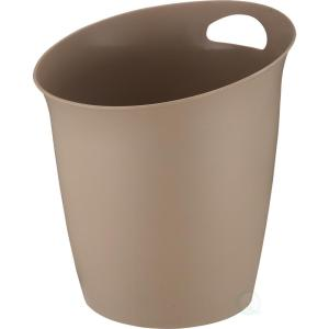 Basicwise 10 inch H x 9.65 inch Dia Small Beige Plastic Wastebasket with Handle by