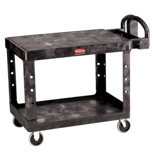 Rubbermaid Commercial Products 2-Shelf Medium Heavy Duty Utility Cart with Flat Shelf