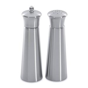 Click here to buy BergHOFF Straight Line Pyramid Stainless Steel 2-Piece Salt and Pepper Mill Set by BergHOFF.