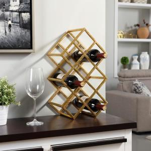 DANYA B Sparkling Gold Iron 9-Bottle Wine Rack by