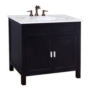 Bellaterra Home Elite 36 inch W x 36 inch H Single Vanity in Ebony with Marble Vanity Top... by