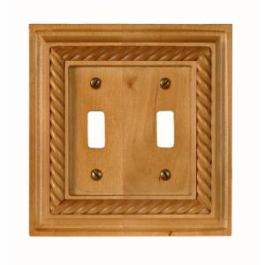 Amerelle Rope 2 Toggle Wall Plate - Light Oak