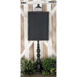 45 inch Rustic Wooden Chalkboard with Black Iron Stand by