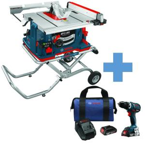 Bosch 10 inch 15 Amp REAXX Jobsite Table Saw with BONUS 18-Volt 1/2 inch Cordless EC Brushless Compact Tough... by