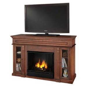Real Flame Lannon 51 in. Media Console Gel Fuel Fireplace in Dark Walnut