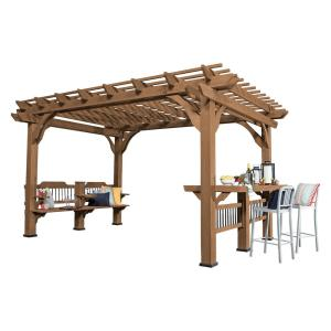 14 ft. x 10 ft. Backyard Discovery Oasis Wood Cedar Pergola by
