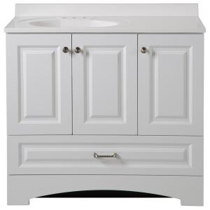 Glacier Bay Lancaster 36.5 inch W x 19 inch D Bath Vanity and Vanity Top in White by