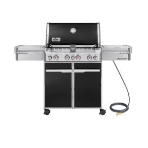 Weber Summit E-470 4-Burner Natural Gas Grill in Black with Built-In Thermometer and Rotisserie by