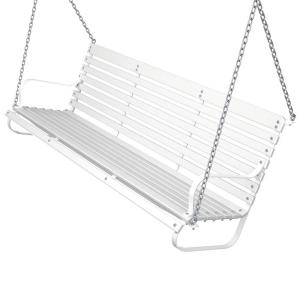 Ivy Terrace 60 in. White and White Patio Swing