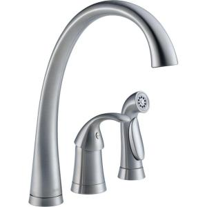 Delta Pilar Waterfall Single-Handle Standard Kitchen Faucet with Side Sprayer in... by Delta
