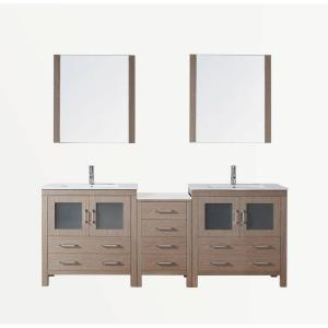 Virtu USA Dior 82 in. Double Vanity in Dark Oak with Ceramic Vanity Top in White and Mirrors
