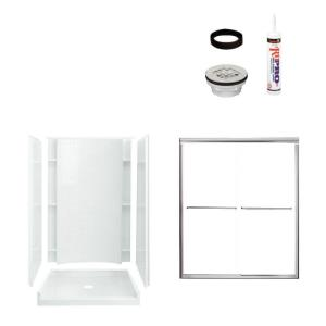 Sterling Plumbing Accord 48 in. x 36 in. x 77 in. Shower Kit in White with Silver Trim