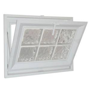 Hy-Lite 25 in. x 37 in. Wave Pattern 6 in. Acrylic Block White Vinyl Fin Hopper Window with White Grout