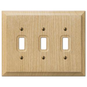 Hampton Bay Cabin 3 Toggle Wall Plate - Unfinished Alder Wood
