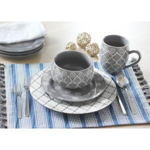Moroccan16-Piece Grey Dinnerware Set by