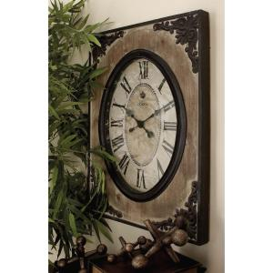 30 inch x 22 inch Traditional Rustic Wood and Iron Wall Clock by