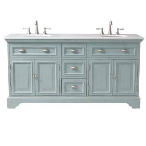 vanity in antique blue with marble vanity top in white 1666700350