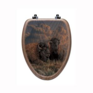 Distant Thunder Bison Elongated Closed Front Wood Toilet Seat in Oak Brown