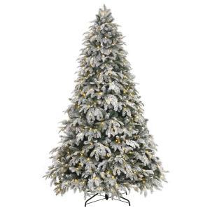 Flocked in Pre-Lit Christmas Trees