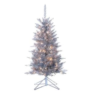 Sterling Inc. 4 ft. Pre-Lit Tiffany Silver Tinsel Artificial Christmas Tree with Clear Lights-SOLD OUT