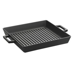 Lava ECO 10-1/2 inch x 13-1/2 inch Enameled Cast Iron Square Grill Pan in Slate Black by