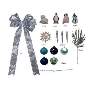 Martha Stewart Living Arctic Blue and Silver Ornament Set (110-Set)