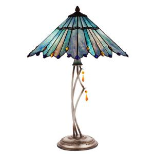 River of Goods 24.75 inch Blue Stained Glass Indoor Table Lamp with Whimsical Shade by