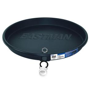 Eastman 22 inch x 24 inch Plastic Water Heater Pan with Drain Fitting in Black