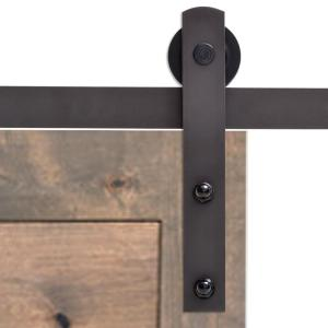 Calhome 72 in antique bronze classic straight strap barn style sliding door track and hardware - Barn door track hardware home depot ...