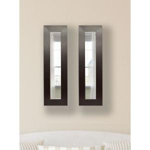 16 inch x 30 inch Wide Brown Leather Vanity Mirror (Set of 2-Panels) by