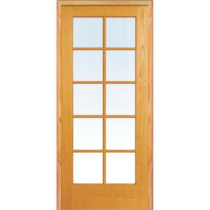 Mmi Door 25 5 In X In Classic Clear Glass 10 Lite True Divided Unfinished Pine Wood