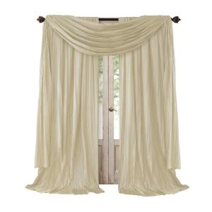 Semi-Opaque Ivory Rod Pocket 2-Window Curtain Panel - 52 inch W x 84 inch L and 1-Scarf Valance - 52 inch W x 216 inch... by