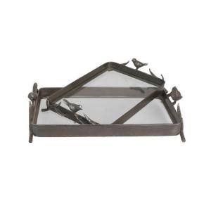 Home Decorators Collection 20.5 in. W Metal Rust Bird Tray Set- (Set of 2)