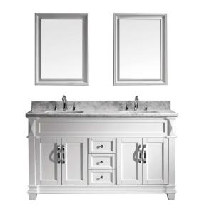 Virtu USA Victoria 60 inch W x 36 inch H Vanity with Marble Vanity Top in... by Virtu USA