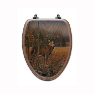 November Whitetail Deer Elongated Closed Front Wood Toilet Seat in Oak Brown