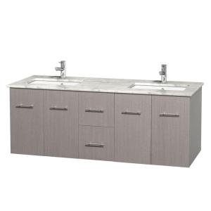 Wyndham Collection Centra 60 inch Double Vanity in Gray Oak with Marble Vanity... by Wyndham Collection