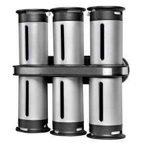 Zevro Zero Gravity 6-Canister Wall-Mount Magnetic Spice Rack in Metallic/Gray by Zevro
