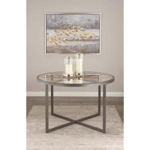 Modern 47 inch Iron and Glass Dining Table by