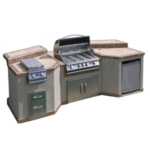 Cal Flame 3-Piece Island with 4-Burner BBQ Grill and Rotisserie by