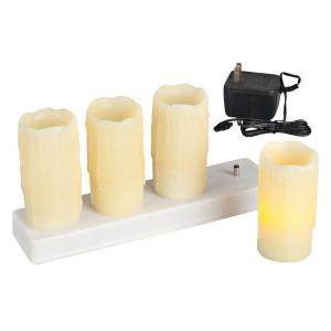 4 in. Ivory Pillar LED Candles with Rechargeable Base (Set of 4)