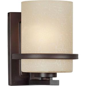Filament Design 1-Light Antique Bronze Sconce with Umber Linen Glass by