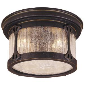 Hampton Bay Flush-Mount 2-Light Outdoor Rustic Iron Lantern