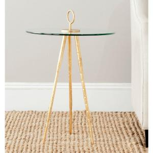 Safavieh Delma Gold Glass Top End Table by