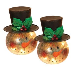 Gerson 8 inch H Electric Lighted Crackle Glass Snowman (Pack of 2)