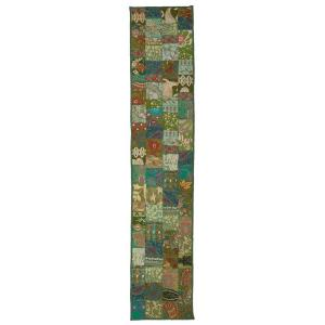 LR Resources Timbuktu 16 inch H x 80 inch W Hand Crafted Green Cotton and Poly Recycled Sari Table Runner by